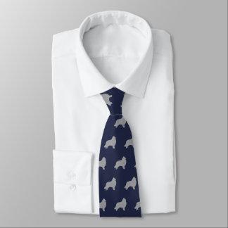 Collie Silhouettes Pattern Navy Blue Tie