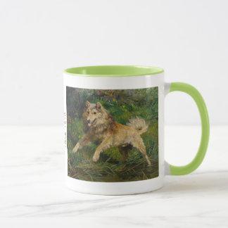 Collie Takes on a Frog Mug