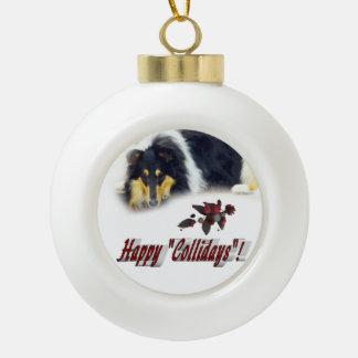 Collie Tri Color Christmas Ceramic Ball Christmas Ornament