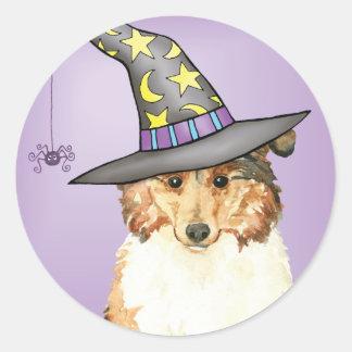 Collie Witch Classic Round Sticker