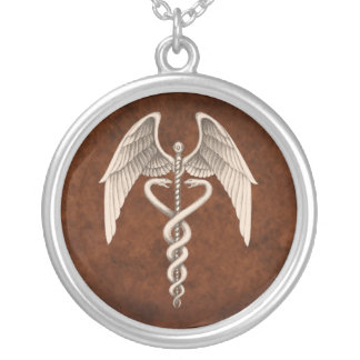 Collier à ailes médical de caducée vintage