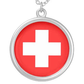 Collier croisé médical suisse d'argent sterling