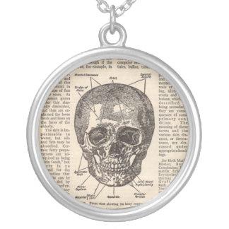 Collier médical vintage de livre de crâne