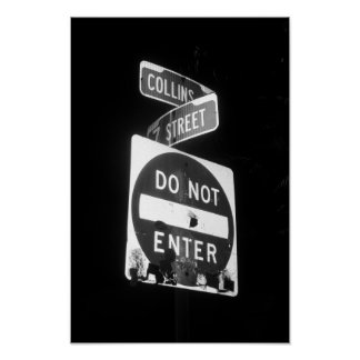 Collins Ave Street Sign Miami Florida B&W Photo Poster