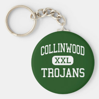 Collinwood - Trojans - High - Collinwood Tennessee Basic Round Button Keychain