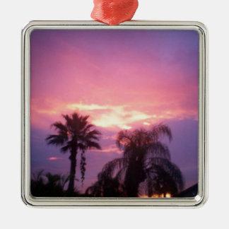 Coloful Florida Sunset Silver-Colored Square Ornament