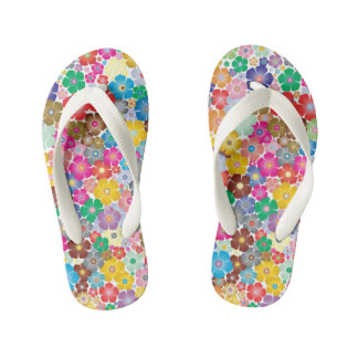 Coloful Flowers Pair of Flip Flops