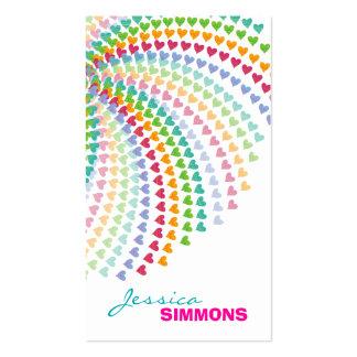 Coloful Fun Rainbow Hearts Sprinkles Profile Card Business Card