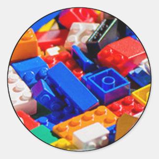 Coloful Toy Brick Pile Classic Round Sticker
