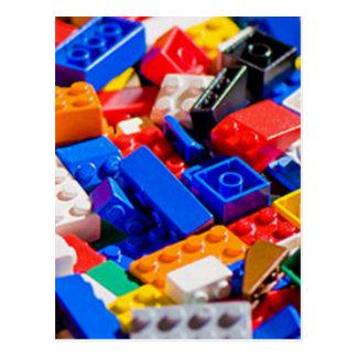 Coloful Toy Brick Pile Postcard