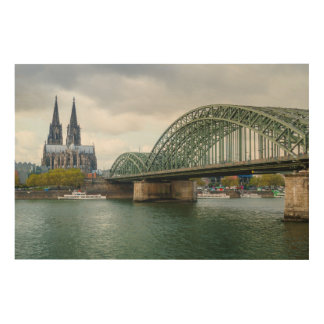 Cologne as wood canvas picture