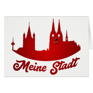 Cologne cathedral art greeting map card