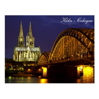 Cologne - Cathedral at twilight postcard