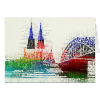 Cologne cathedral greeting map card
