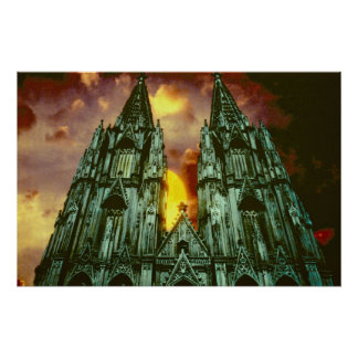 Cologne Cathedral with sun Poster