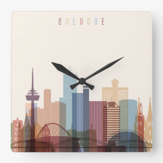 Cologne, Germany | City Skyline Square Wall Clock