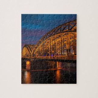 Cologne Germany Hohenzollern Bridge at night Jigsaw Puzzle