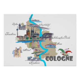 Cologne map with tourist highlights poster