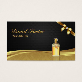 Cologne Perfume Bottle Elegant Black Gold Damask Business Card