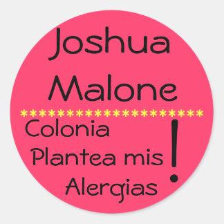 Cologne raises my allergies round sticker