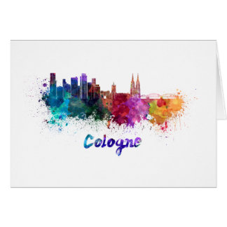 Cologne skyline in watercolor card