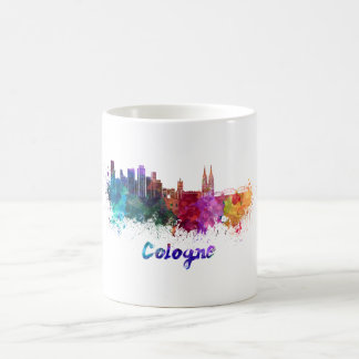 Cologne skyline in watercolor coffee mug