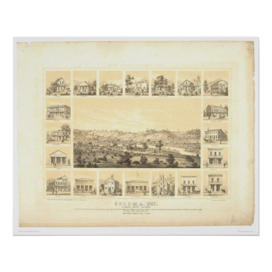 Coloma, CA. Panoramic Map 1857 (0423A) Poster