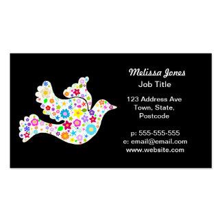 Colombe blanche des fleurs cartes de visite personnelles