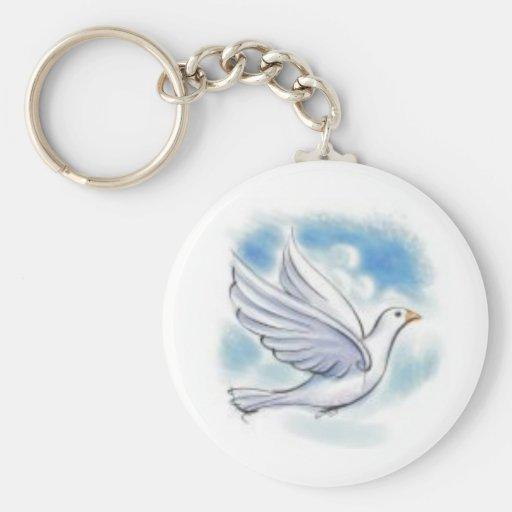 colombe de blanc porte-clefs