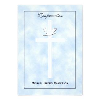 Colombe et croix d'invitation de confirmation sur carton d'invitation  12,7 cm x 17,78 cm