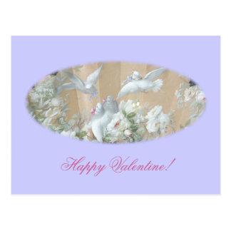 colombes et roses carte postale