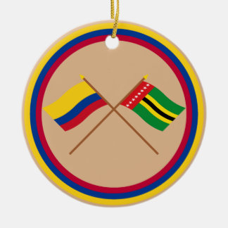 Colombia and Santander Crossed Flags Round Ceramic Ornament
