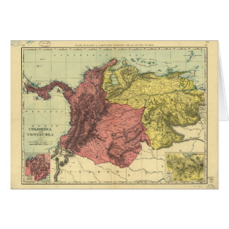 Colombia and Venezuela Map (1898) Card