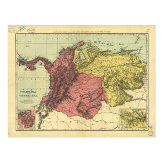 Colombia and Venezuela Map (1898) Postcard