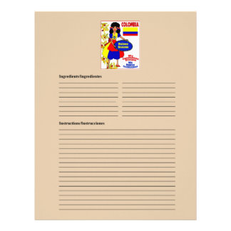Colombia blank sauces recipe cards