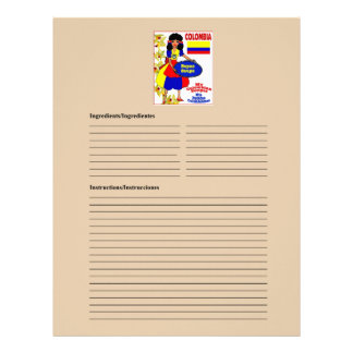 Colombia blank soup recipe cards