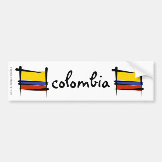 Colombia Brush Flag Bumper Sticker
