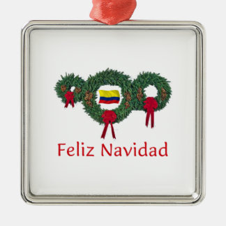 Colombia Christmas 2 Silver-Colored Square Ornament
