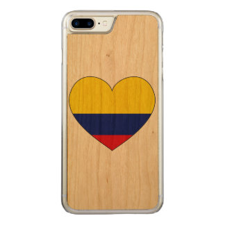 Colombia Flag Heart Carved iPhone 8 Plus/7 Plus Case