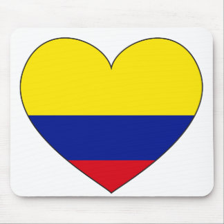 Colombia Flag Heart Mouse Pad