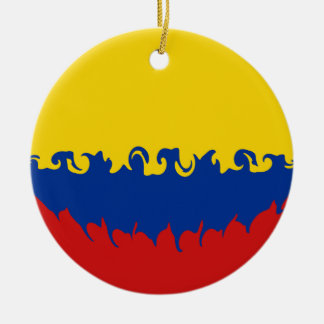 Colombia Gnarly Flag Round Ceramic Ornament