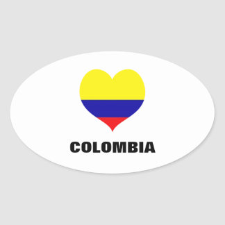 Colombia heart oval stickers