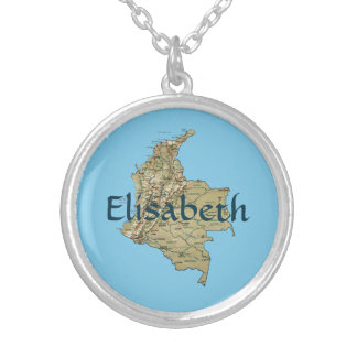 Colombia Map + Name Necklace