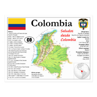 Colombia map Postcard