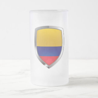 Colombia Mettalic Emblem Frosted Glass Beer Mug