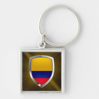 Colombia Mettalic Emblem Silver-Colored Square Keychain
