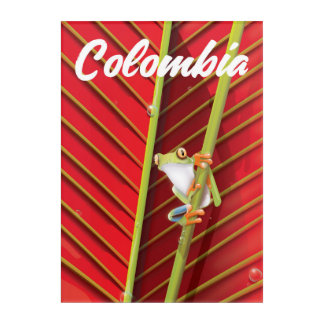 Colombia tree frog travel poster acrylic wall art