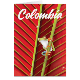 Colombia tree frog travel poster card
