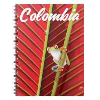 Colombia tree frog travel poster notebook