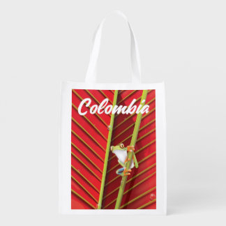 Colombia tree frog travel poster reusable grocery bag